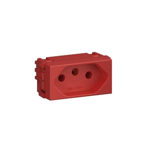 Módulo Tomada 2P+T 10A/250V Vermelho
