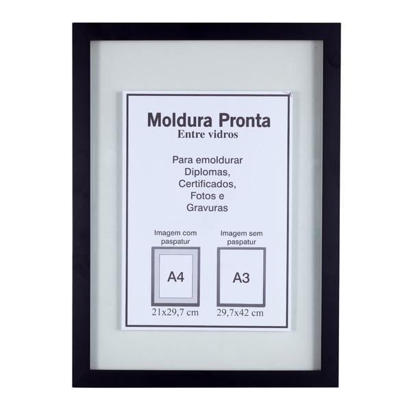 Moldura pronta entre vidro preta 30x42cm leroy merlin - Molduras de poliestireno leroy merlin ...