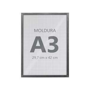 Moldura Pronta Fit Vidro Silver 42x30cm