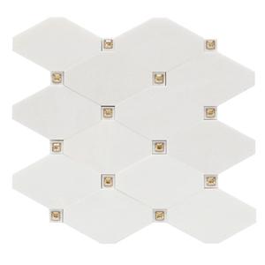 Mosaico Mármore com Cristal Swarovski Thassos MPC16689 30x30cm Tessela