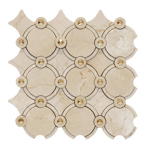 Mosaico Mármore com Swarovski Crema Marfil  MPC 48.002 30x30cm Tessela
