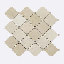 Mosaico Mármore com Swarovski Crema Marfil MPC82182 30x30cm Tessela