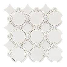 Mosaico Mármore com Swarovski Thassos MPC 48009 30x30cm Tessela