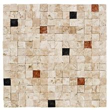 Mosaico Mármore Acetinado Bege 1800.0 Bizantino Trav Ner Rosso 28x28cm Forti Marmi
