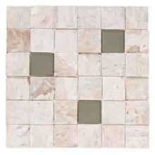Mosaico Mármore Acetinado Bege 1802.0 Travertino Ant Inox 30x30cm Forti Marmi