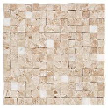 Mosaico Mármore Acetinado e Brilhante Bege e Branca 1798.0 Bizantino Trav Nev Pol 28x28cm Forti Marmi