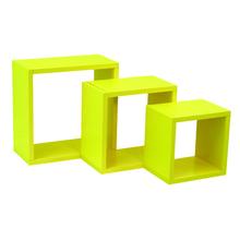 Nicho 3 Unidades Cubo Amarelo Madeira 30x30cm,25x25cm e 20x20cm Spaceo