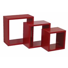 Nicho 3 unidades Cubo MDF Vermelho 30x30cm,25x25cm e 20x20cm Spaceo