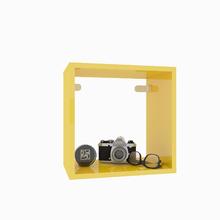 Nicho Quadrado Madeira 31x31x20 cm Amarelo Cube Luciane