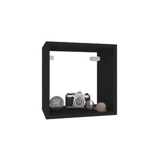 Nicho Quadrado Madeira 31x31x20 cm Preto Cube Luciane