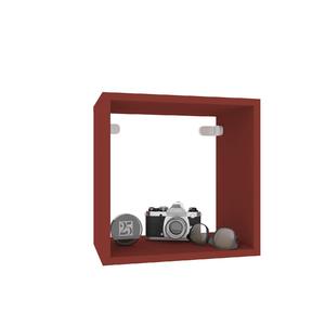 Nicho Quadrado Madeira 31x31x20 cm Vermelho Cube Luciane