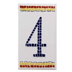 Numeral Cerâmica Branco Número 4 Azul 11x6cm N1004 Lineart