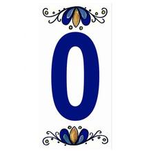 "Número ""0"" 7x15cm Cerâmica Branco e Azul Gabriella"