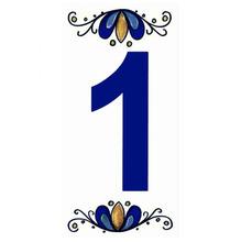 "Número ""1"" 7x15cm Cerâmica Branco e Azul Gabriella"