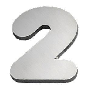 """Número """"2"""" 120mm Aço Inox Escovado Prata Geris"""
