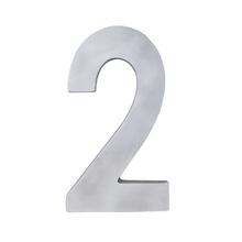 """Número """"2"""" 22cm Alumínio Cinza"""