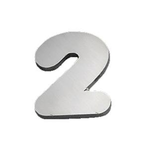 "Número ""2"" 40mm Aço Inox Polido Prata Geris"