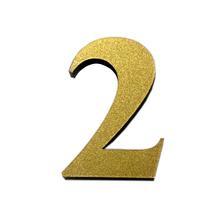 "Número ""2"" 4cm Acrílico Ouro Kami Acrílicos"