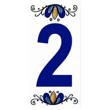 "Número ""2"" 7x15cm Cerâmica Branco e Azul Gabriella"