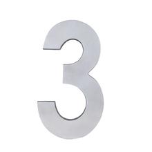 """Número """"3"""" 22cm Alumínio Cinza"""