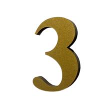 "Número ""3"" 4cm Acrílico Ouro Kami Acrílicos"