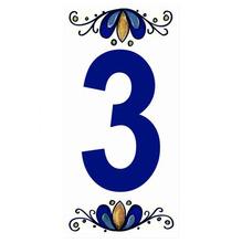 "Número ""3"" 7x15cm Cerâmica Branco e Azul Gabriella"