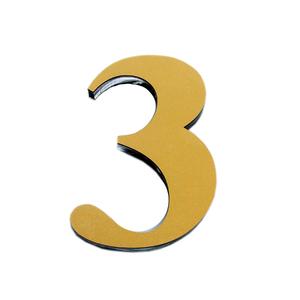 "Número ""3""  14,5cm Acrílico Ouro Kami Acrílicos"