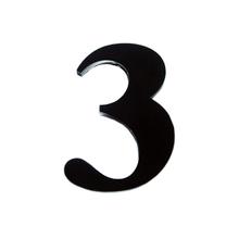 "Número ""3""  14,5cm Acrílico Preto Kami Acrílicos"