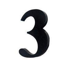 "Número ""3""  4cm Acrílico Preto Kami Acrílicos"