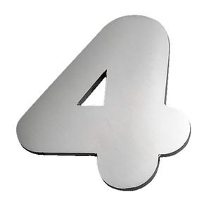 "Número ""4"" 120mm Aço Inox Polido Prata Geris"