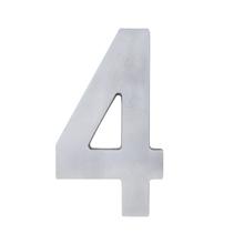 """Número """"4"""" 22cm Alumínio Cinza"""
