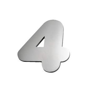 """Número """"4"""" 40mm Aço Inox Escovado Prata Geris"""