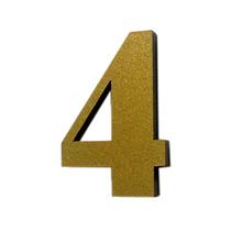 "Número ""4"" 4cm Acrílico Ouro Kami Acrílicos"