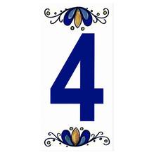 "Número ""4"" 7x15cm Cerâmica Branco e Azul Gabriella"