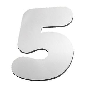 "Número ""5"" 120mm Aço Inox Polido Prata Geris"