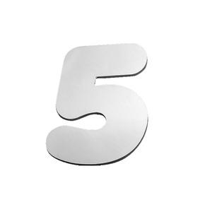 """Número """"5"""" 40mm Aço Inox Escovado Prata Geris"""