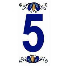 "Número ""5"" 7x15cm Cerâmica Branco e Azul Gabriella"