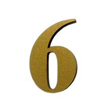 "Número ""6"" 4cm Acrílico Ouro Kami Acrílicos"