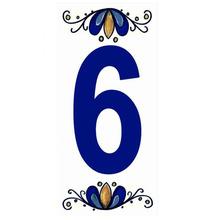 "Número ""6"" 7x15cm Cerâmica Branco e Azul Gabriella"