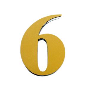 "Número ""6""  14,5cm Acrílico Ouro Kami Acrílicos"