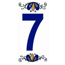 "Número ""7"" 7x15cm Cerâmica Branco e Azul Gabriella"