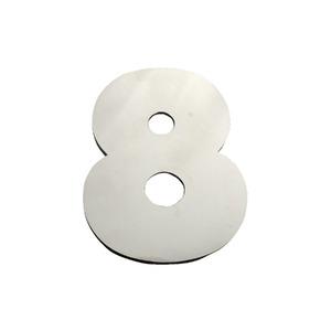 """Número """"8"""" 40mm Aço Inox Escovado Prata Geris"""