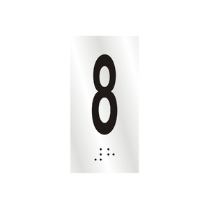 "Número ""8"" 7cm Alumínio Prata Sinalize"