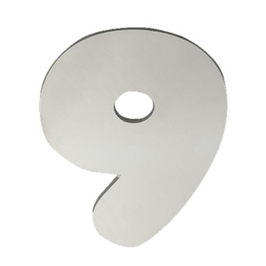 "Número ""9"" 120mm Aço Inox Polido Prata Geris"
