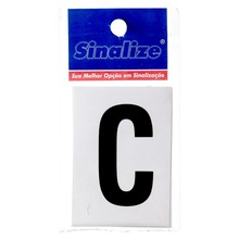 Número Autoadesivo Letra C 5 cmx2,5 cm Cantos retos Sinalize