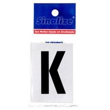 Número Autoadesivo Letra K 5 cmx2,5 cm Cantos retos Sinalize