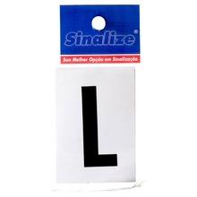 Número Autoadesivo Letra L 5 cmx2,5 cm Cantos retos Sinalize