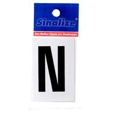 Número Autoadesivo Letra N 5 cmx2,5 cm Cantos retos Sinalize