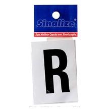 Número Autoadesivo Letra R 5 cmx2,5 cm Cantos retos Sinalize