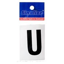 Número Autoadesivo Letra U 5 cmx2,5 cm Cantos retos Sinalize